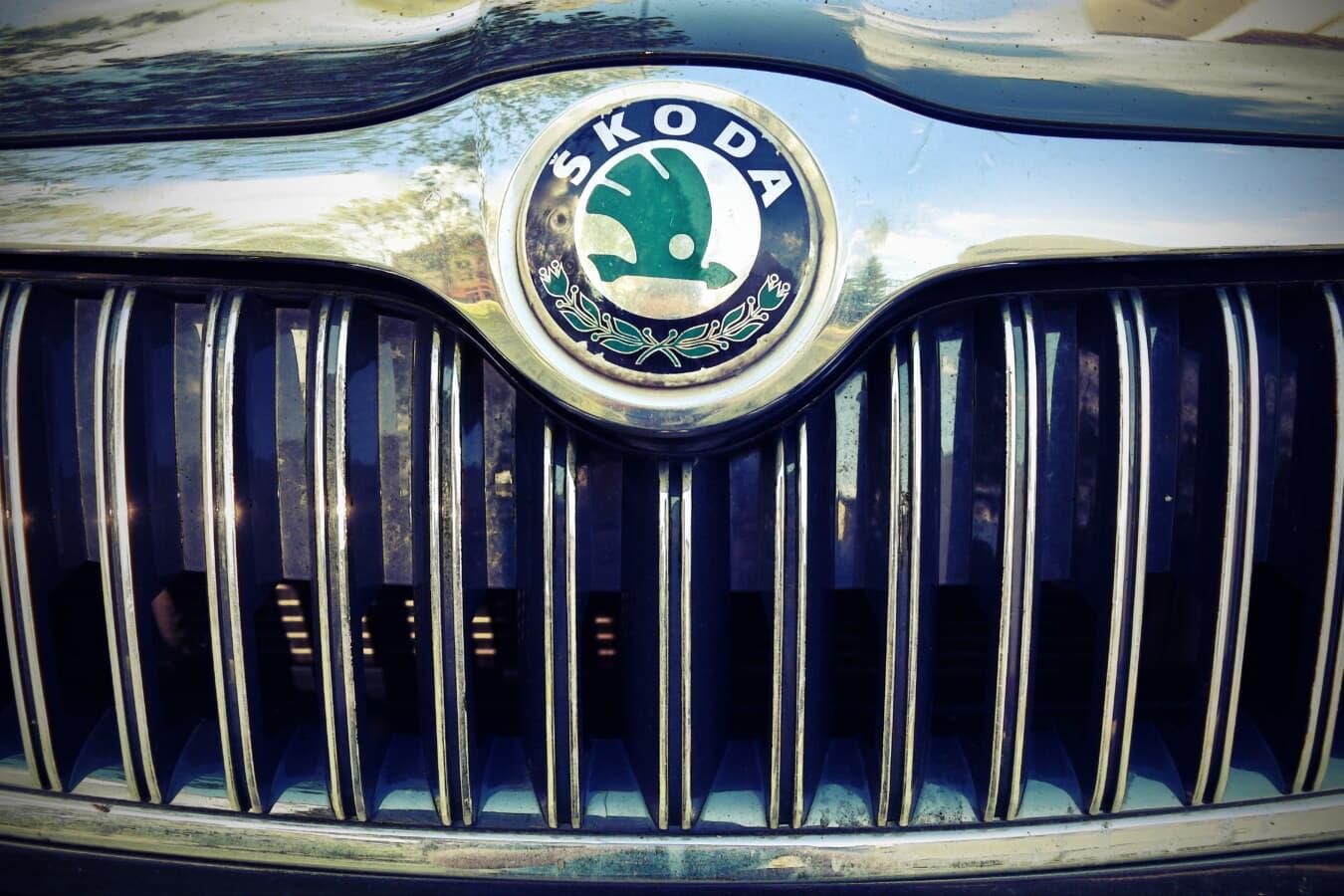 Skoda, Symbol, Kühlergrill, Zeichen, Auto, metallische, Sport Auto, Stoßstange, automotive, Fahrzeug