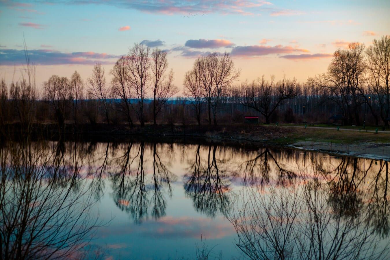 majestueux, crépuscule, au bord du lac, nature sauvage, eau, Lac, paysage, atmosphère, aube, réflexion