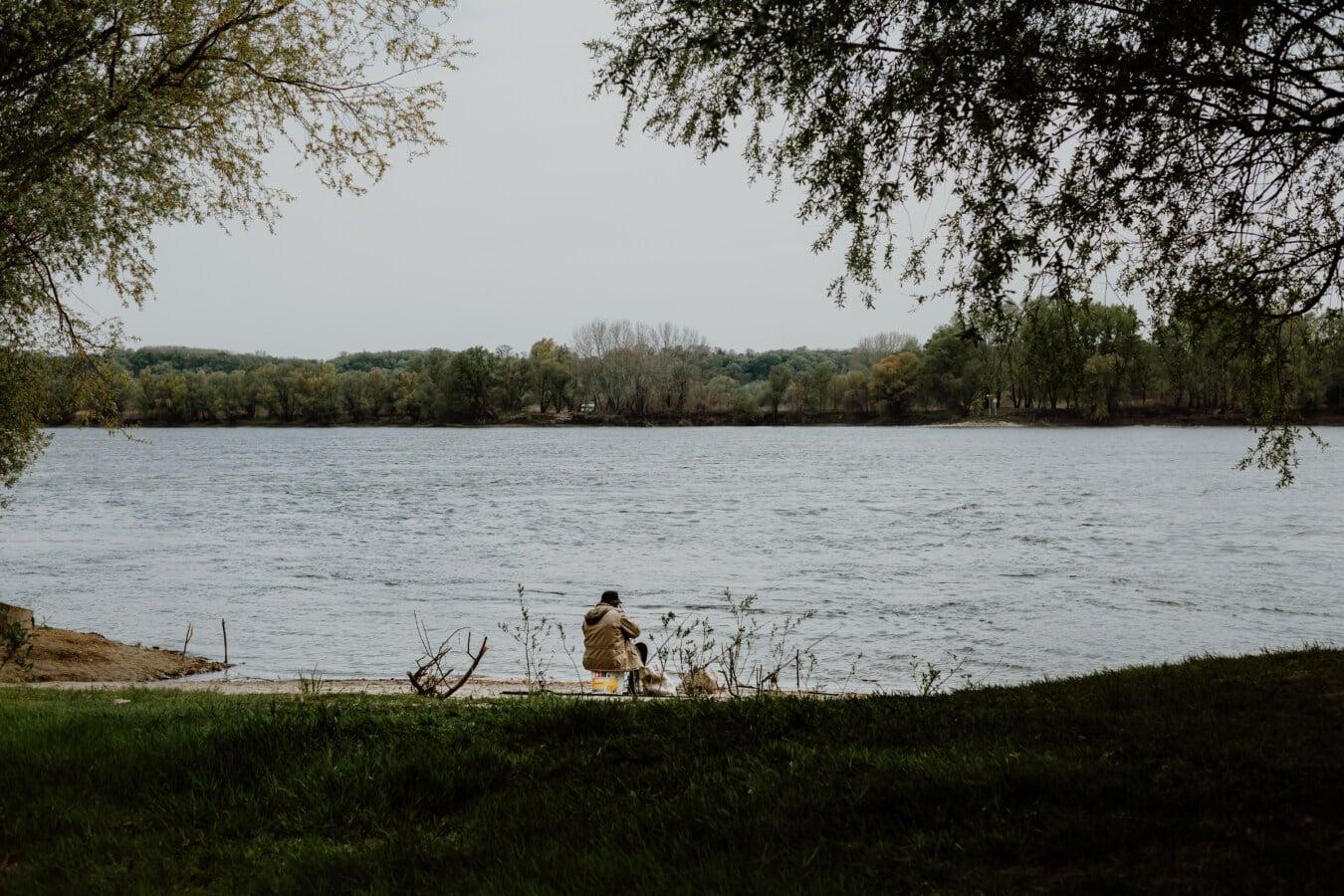 Fischer, Flussufer, sitzen, Genuss, Ufer, Struktur, Fluss, See, Landschaft, Wasser