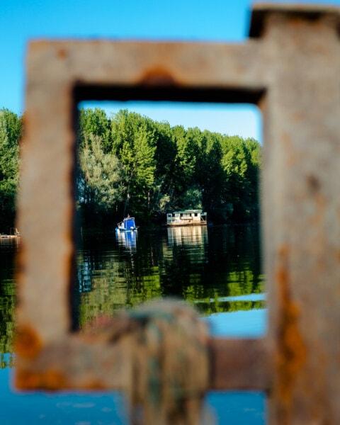 au bord du lac, Pipe, rouille, trou, eau, nature, à l'extérieur, bois, été, bateau