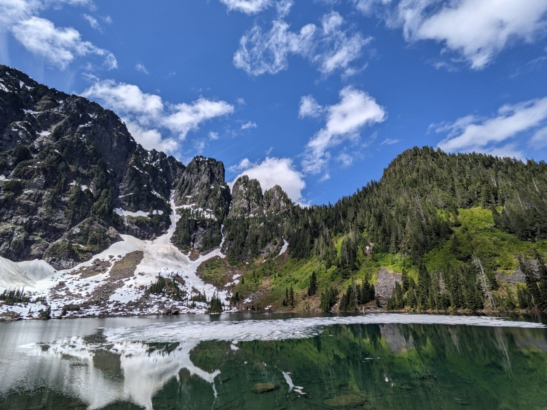 idyllic, mountains, lakeside, alpine, basin, water, landscape, range, mountain, glacier