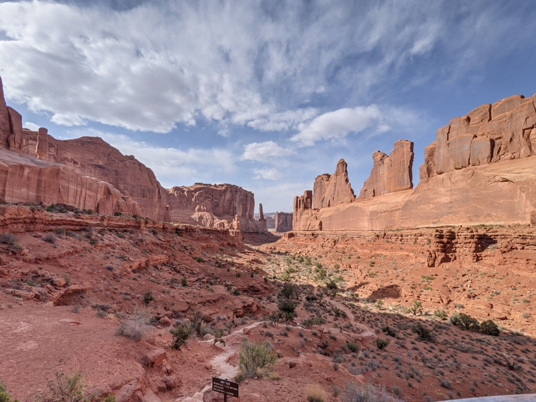 poušť, národní park, jihovýchod, kaňon, údolí, skála, pískovec, parku, cihla, Rampart