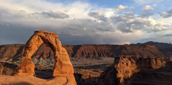 mégalithe, géologie, arch, Roche, falaise, nature sauvage, ravin, coucher de soleil, grès, paysage