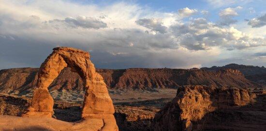 Ausbildung, Arch, große Steine, Landschaft, Natur, majestätisch, Wüste, Sonnenuntergang, Panorama, Park