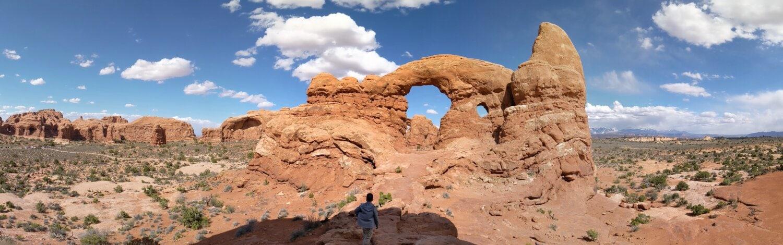 kalliokiipeilyä, muodostuminen, Arch, aavikko, geologia, hiekkakivi, panoraama, kallio, kanjoni, maisema