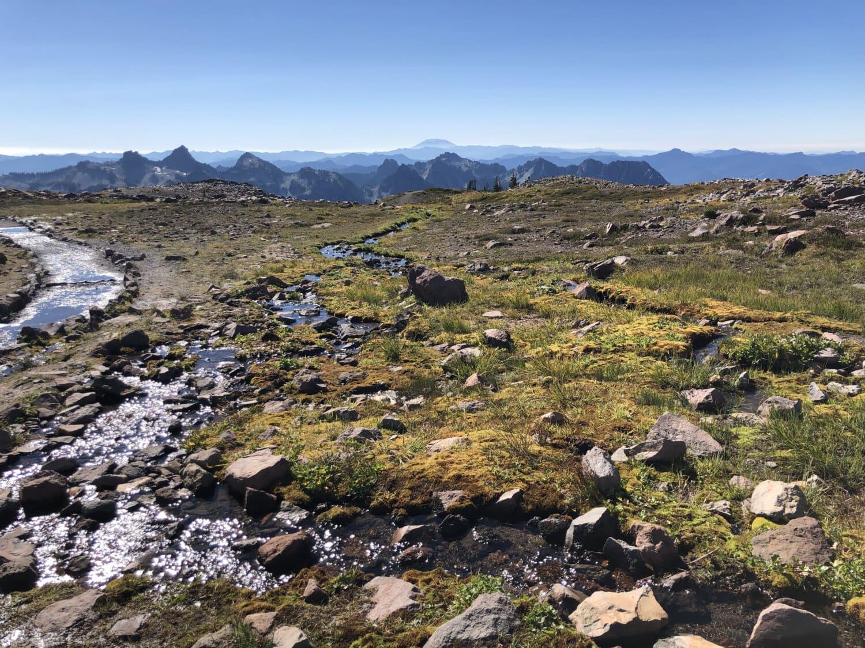 склон горы, поток, время весны, нагорье, горная вершина, панорама, Земля, горы, гора, равнина