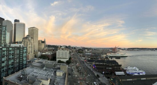 panorama, street, harbor, downtown, buildings, cruise ship, architecture, city, skyline, cityscape