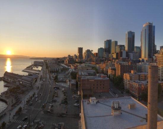град, градски пейзаж, улица, панорама, океан, пристанище, в центъра, залез, метрополис, небостъргач
