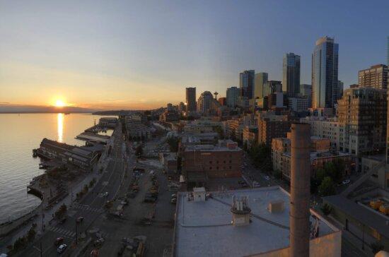 улица, центр города, закат, главный город, береговая линия, метрополис, гавань, панорама, величавый, Сумерки