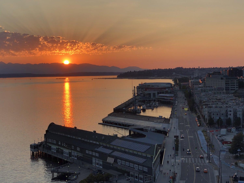 paysage urbain, Centre ville, port, lever du soleil, contrôle de la circulation, coupe transversale, Tableau de concordance, Carrefour, eau, coucher de soleil
