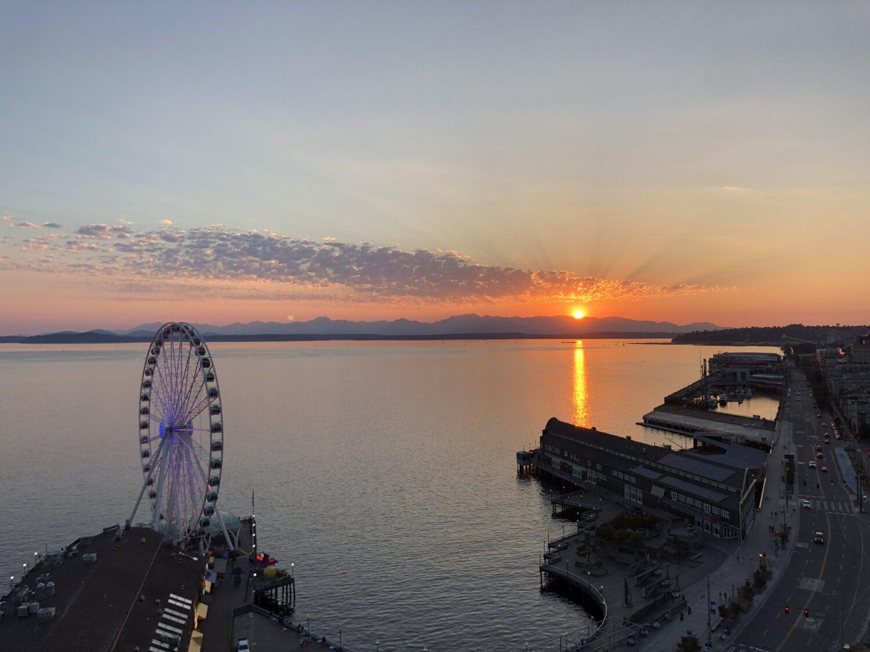 Centre ville, lever du soleil, littoral, attraction touristique, port, coucher de soleil, Front de mer, aube, eau, Ville