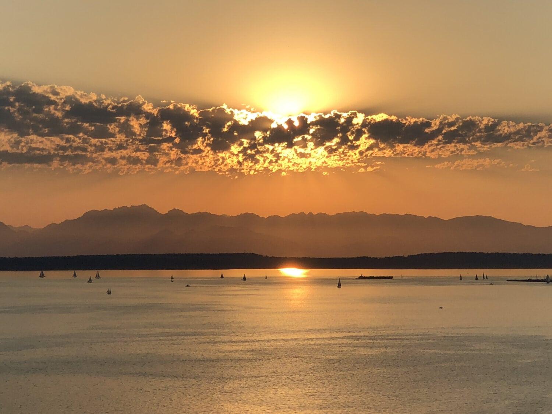sunset, horizon, ocean, sailing, sailboat, water, coast, sun, seaside, sand