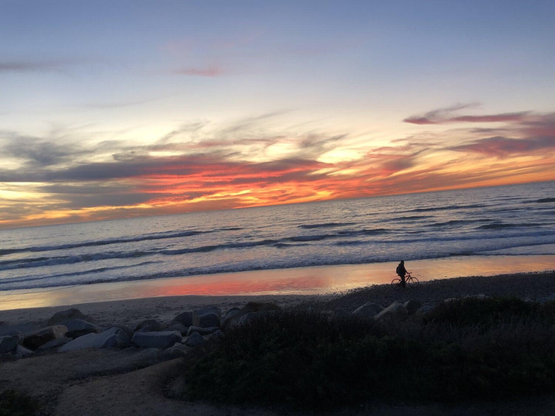 coucher de soleil, plage, océan, marche, seul, personne, Panorama, crépuscule, eau, soleil