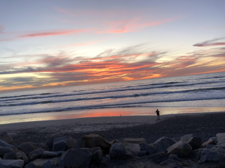 beach, twilight, sunset, ocean, dawn, water, landscape, clouds, shoreline, sand