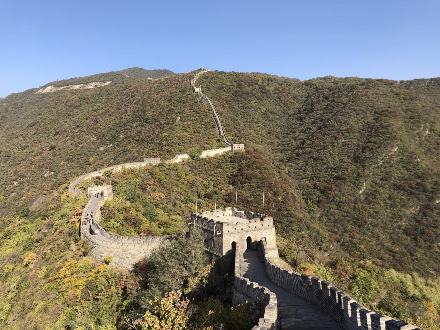 chinese, wall, castle, China, medieval, rampart, landscape, mountain, ascent, architecture