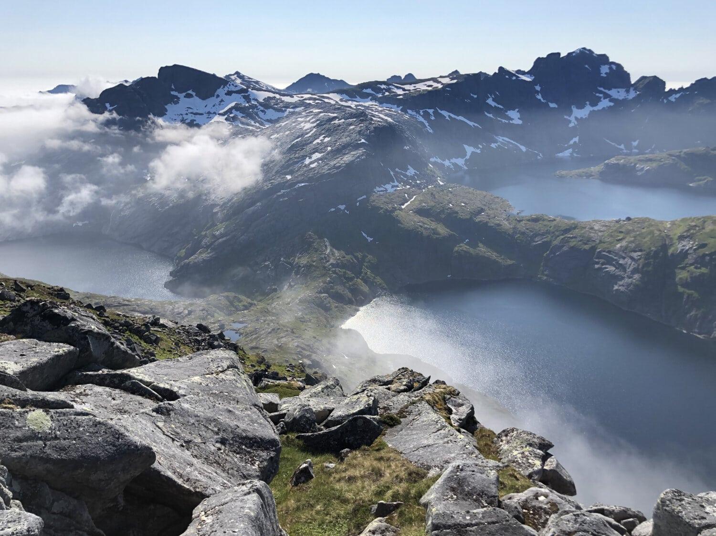hegyek, látványos, panoráma, tavak, fenti, felhők, gleccser, csúcs, táj, hó