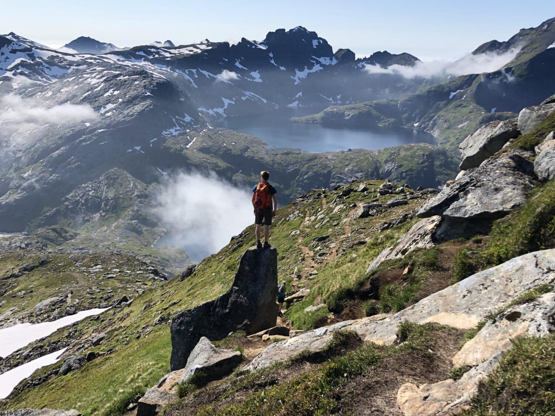 скалолаз, Скалолаз, храбрый, человек, стоять, нагорье, пейзаж, горы, поход, гора