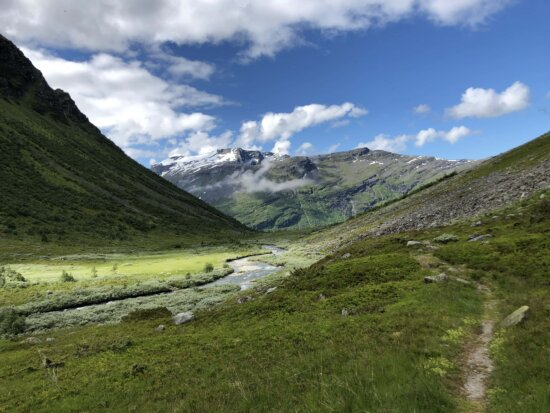 mountainside, valley, spring time, river, mountains, mountain, high land, ascent, landscape, nature