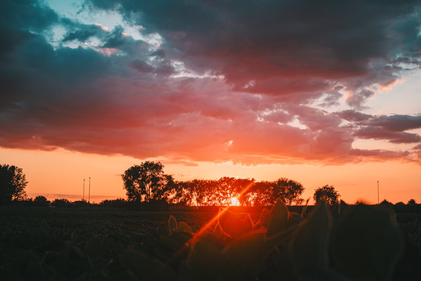 farverige, solnedgang, solens stråler, Sollys, rødt lys, solen, daggry, landskab, tähti, skyer