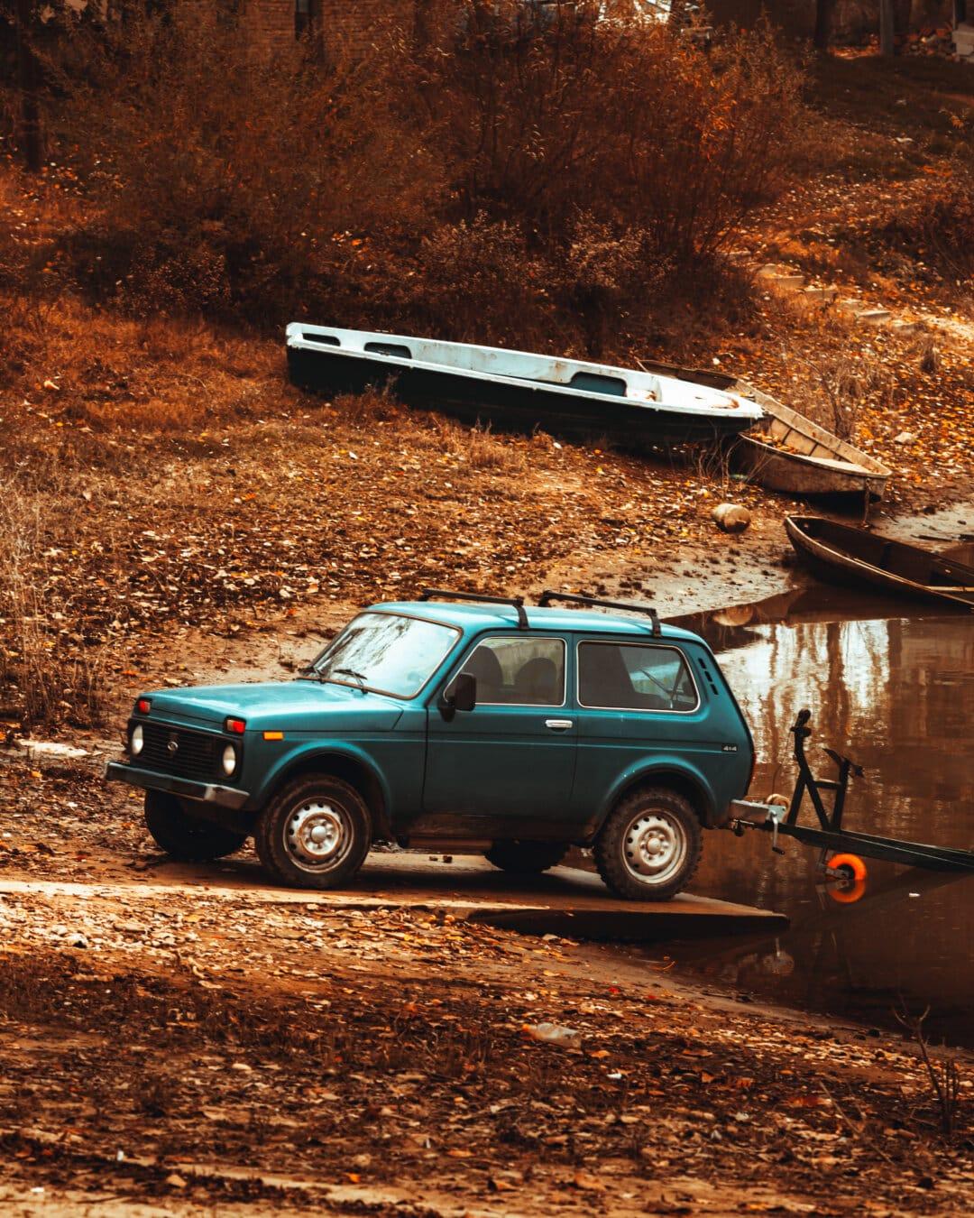 voiture, Jeep, bateau, transport, véhicule, automobile, Itinéraire, transport, en voiture, pneu