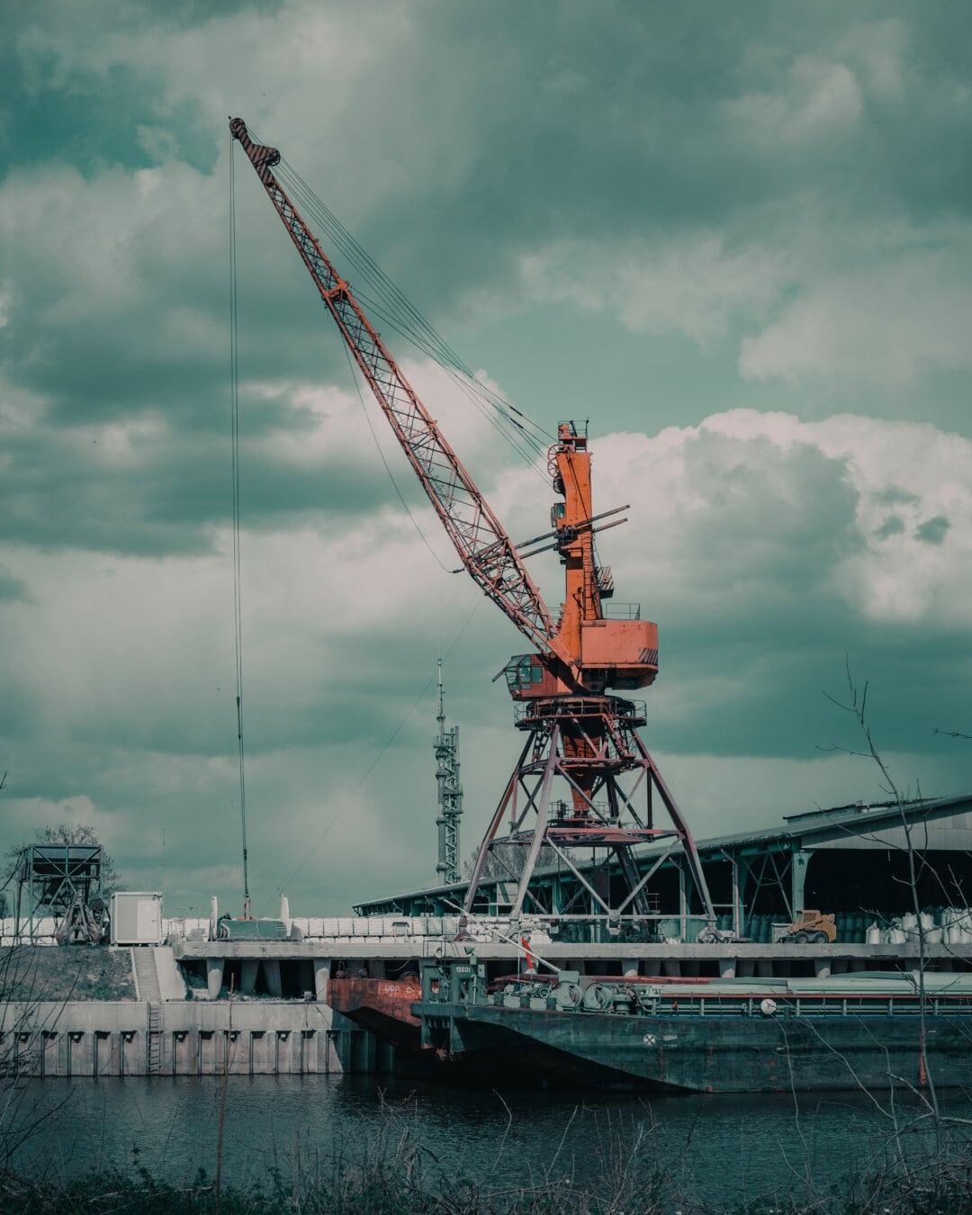 teherhajó, hajógyár, iparág, teherhajó, uszály, ipari, daru, szállítás, kikötő, szállítás