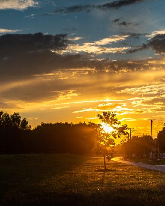 солнечный свет, улица, сельских районах, закат, лучи солнца, тень, с подсветкой, пейзаж, атмосфера, звезда