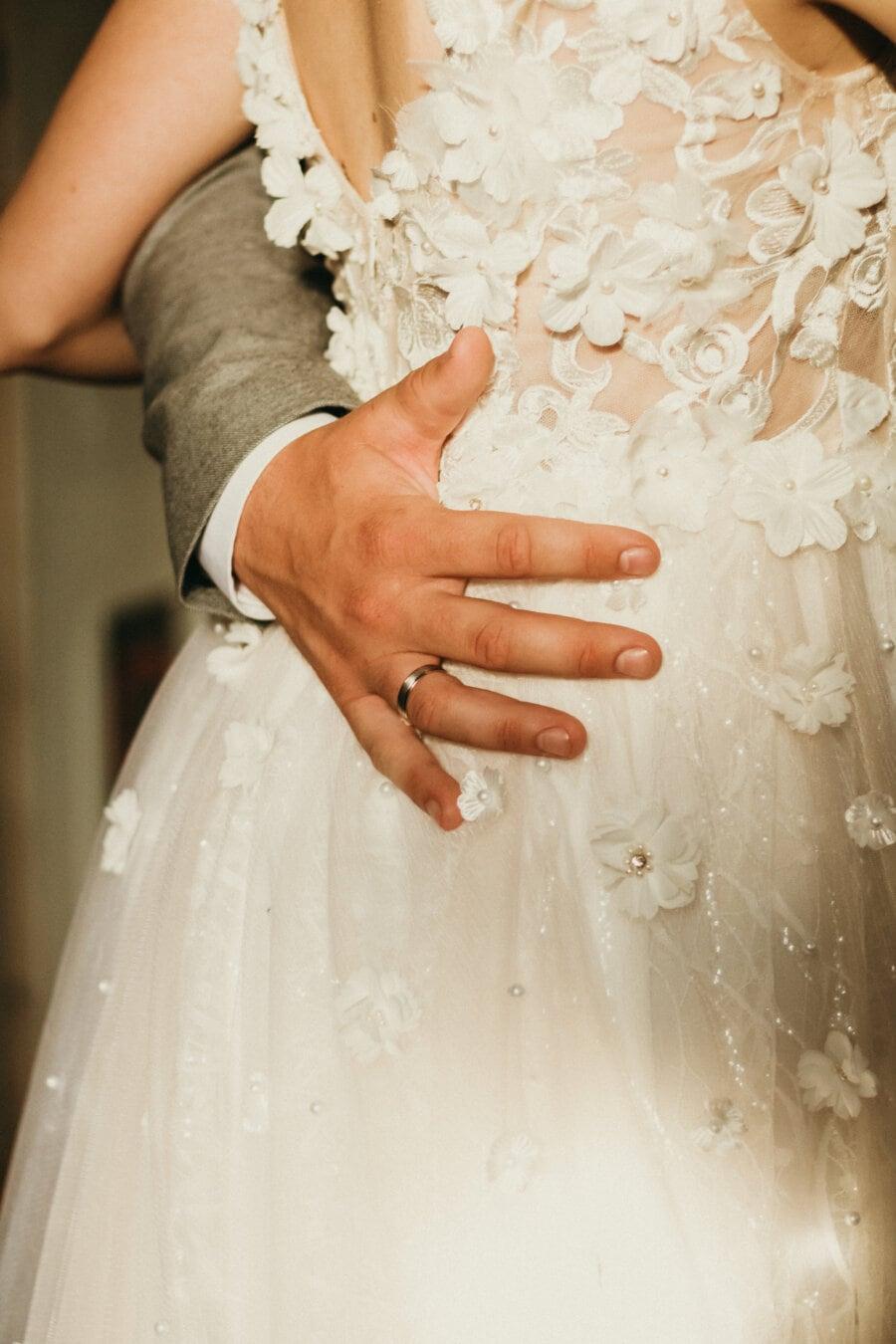 sposa, vestito da sposa, anello di nozze, marito, mano, matrimonio, sposo, matrimonio, impegno, pasta