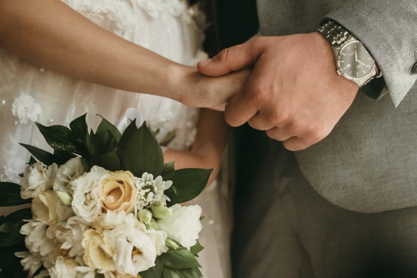 手をつないで, 手, 夫, 結婚, 妻, 優しさ, 愛, ロマンチックです, 花嫁, 花