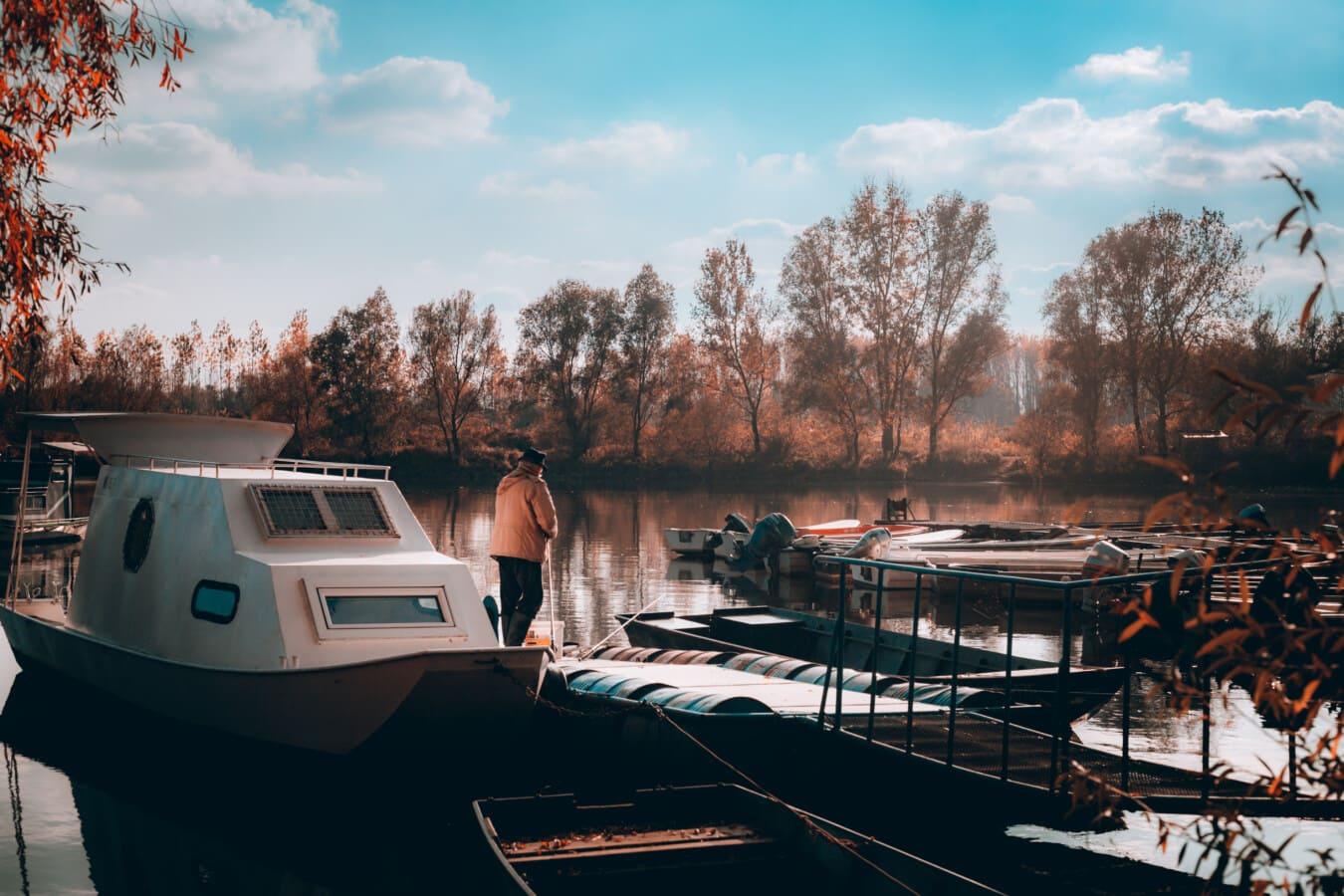 havn, Yacht club, mann, stående, været, høstsesongen, båt, vann, kjøretøy, innsjø