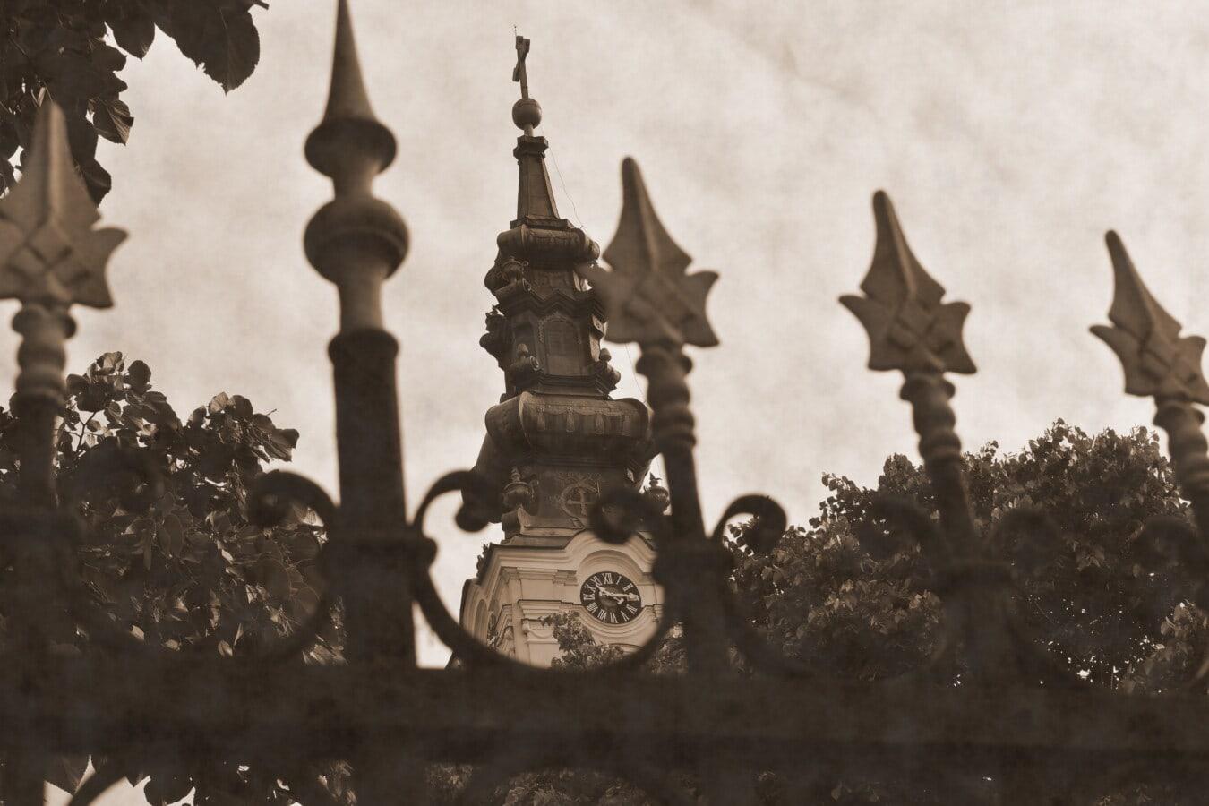 sepia, Turnul Bisericii, vechi, săgeată, vârfuri de săgeată, din fonta, gard, arhitectura, Moscheea, religie
