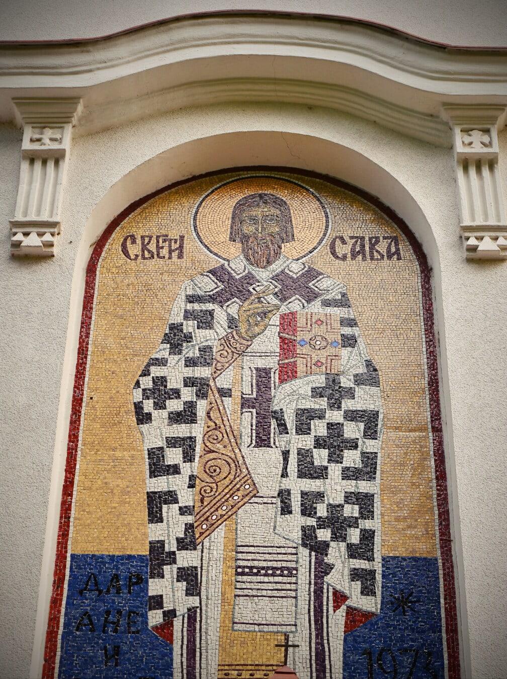 Heilige, Serbien, Mosaik, Symbol, Byzantinische, orthodoxe, Architektur, Kunst, alt, Design