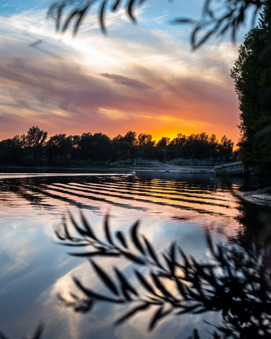 湖, 黄昏, 雄伟, 日落, 海滩, 性质, 黎明, 太阳, 湖, 景观