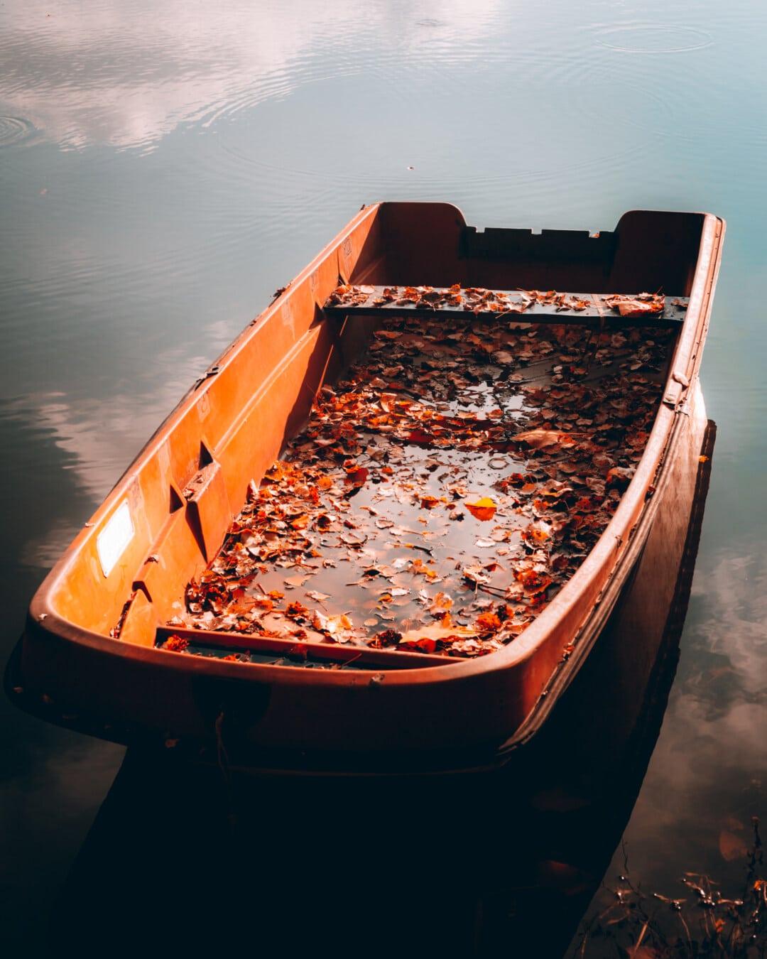 Річка човен, покинуті, човен, пластикові, осінній сезон, води, транспортний засіб, Водний транспорт, люди, світло