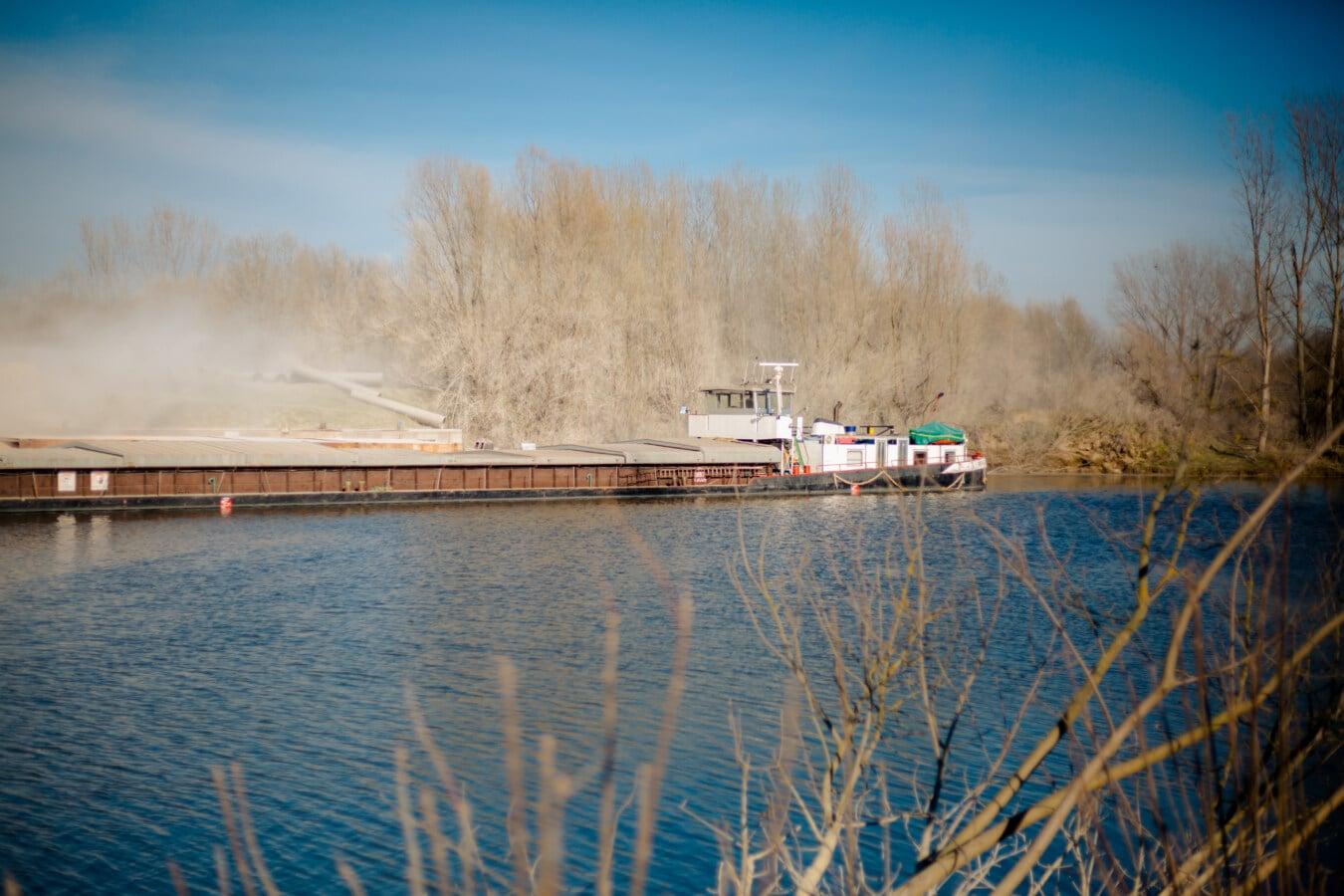 Lastkahn, Frachtschiff, Fracht, Hafen, Staub, Werft, schwere, Schiff, Landschaft, Wasser