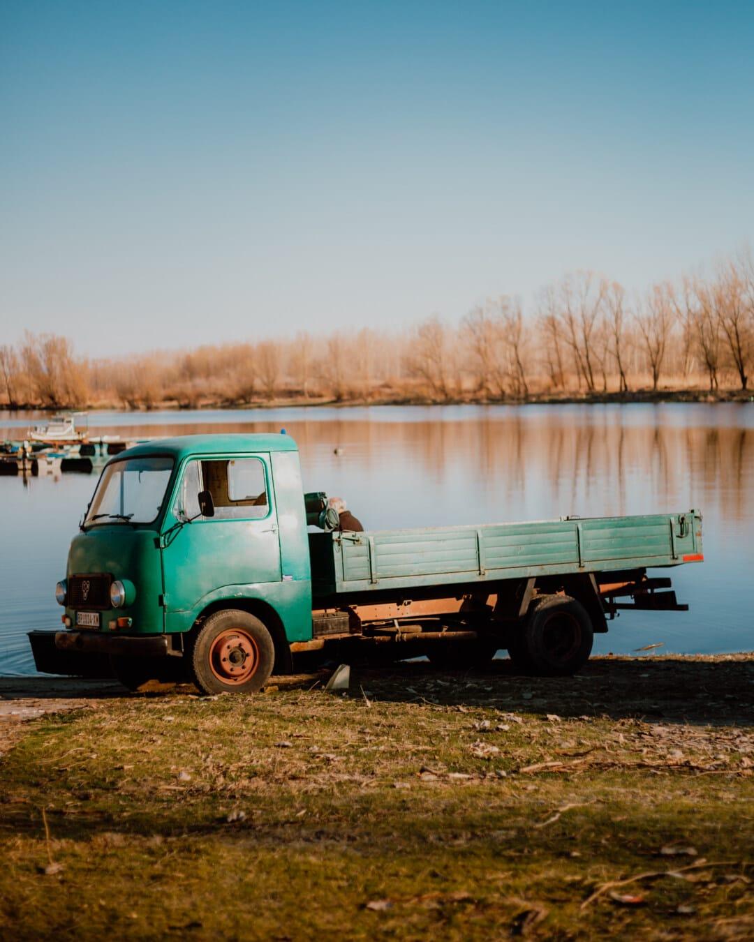 camion, logistique, vieux, transport, plage, machine, véhicule, remorque, expédition, Lac