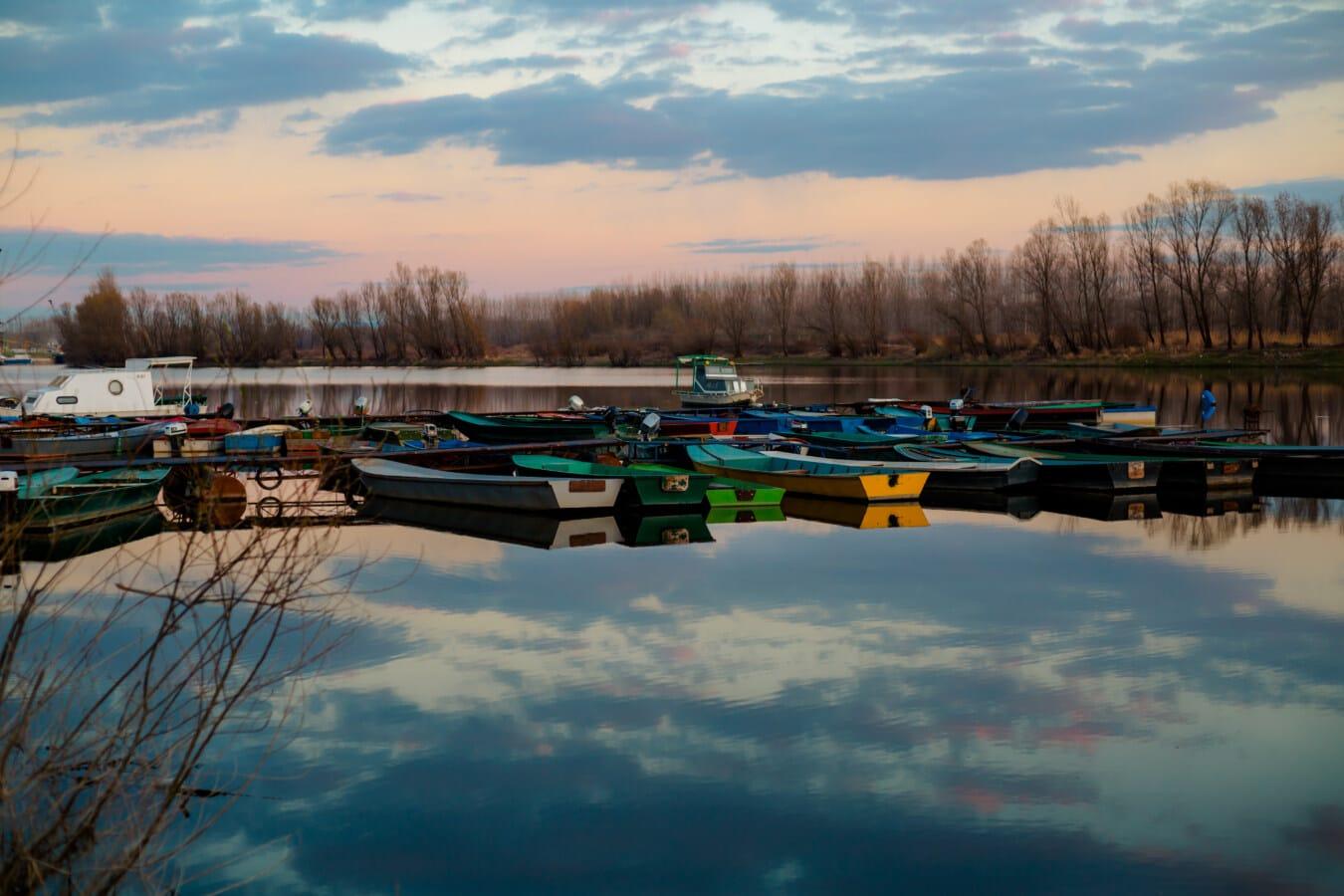 aube, bateaux, port, eau, réflexion, Lac, bateau, kayak, rivière, coucher de soleil