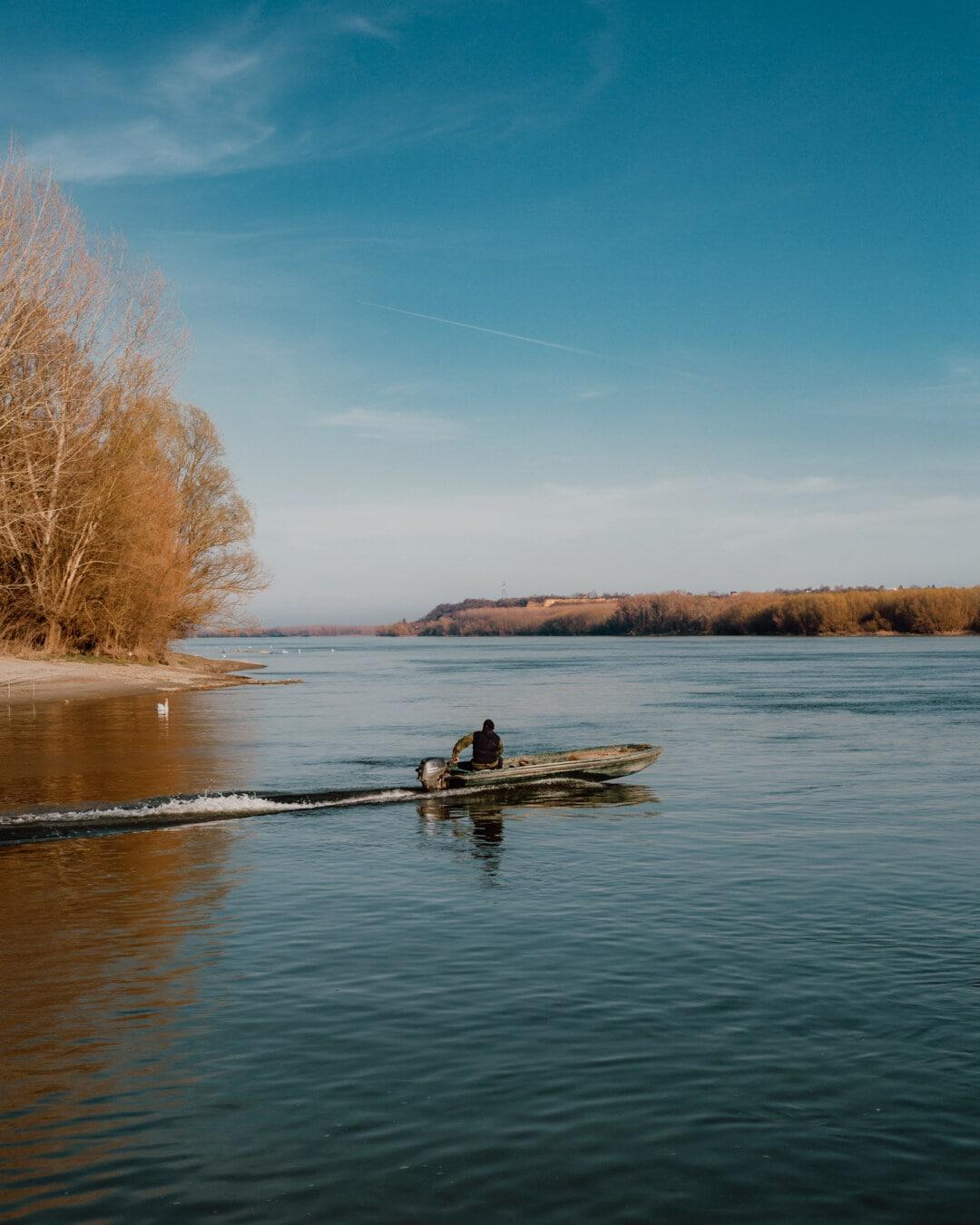 Flussschiff, Fluss, Wasser, Reflexion, Sonnenuntergang, Fischer, Dämmerung, Boot, Landschaft, Ruder