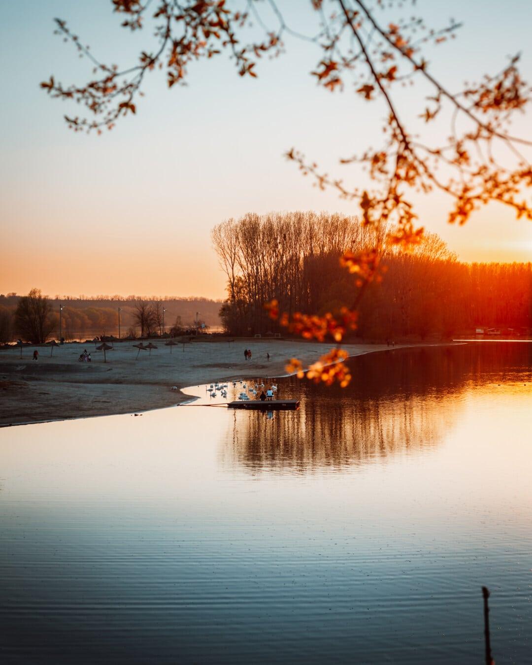 sunset, beach, lakeside, sun, dawn, water, lake, reflection, landscape, snow
