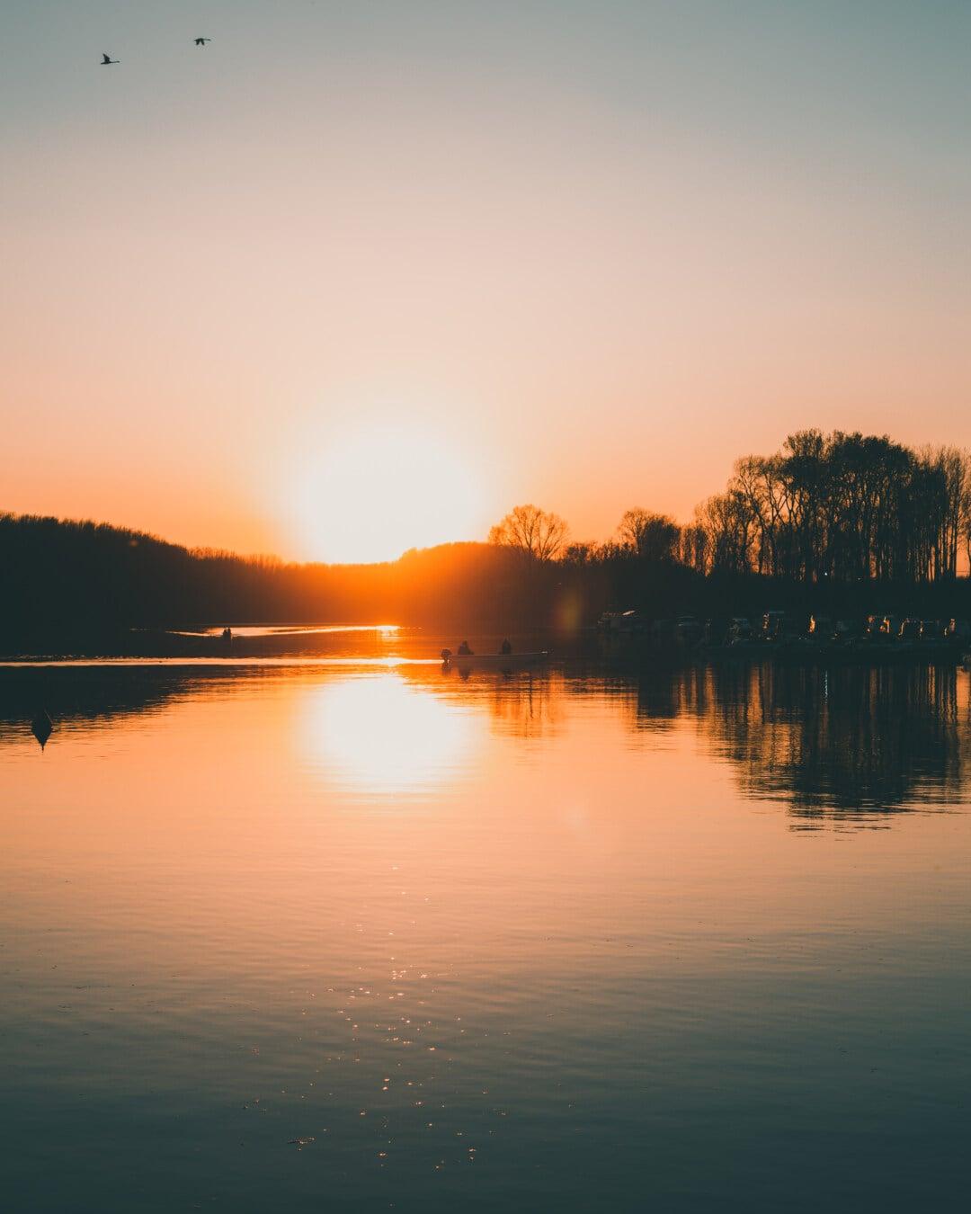 shore, sun, sunset, lakeside, dawn, lake, reflection, water, landscape, evening
