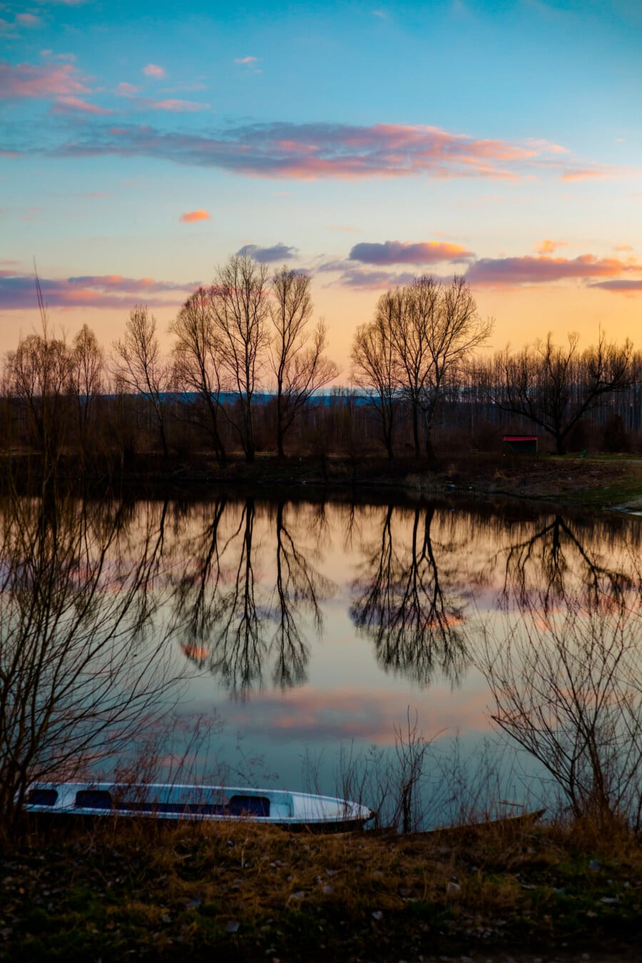 twilight, lake, sunset, tree, water, landscape, dawn, sun, reflection, nature