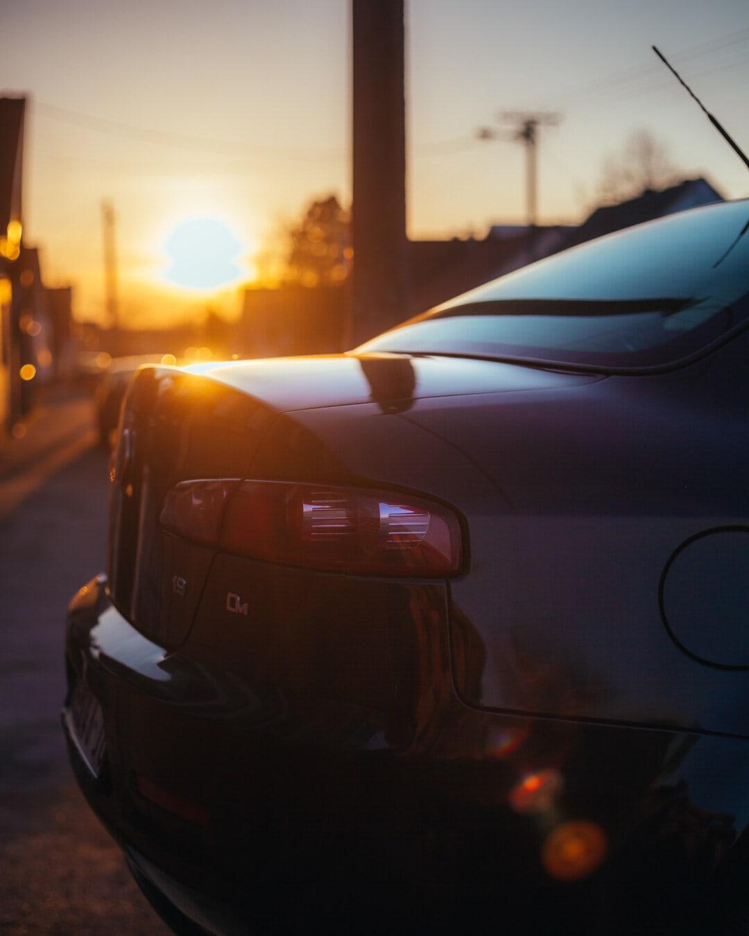 μοντέρνο, πολυτέλεια, αυτοκίνητο, προφυλακτήρας, ηλιαχτίδες, Ηλιακό φως, ηλιοβασίλεμα, με οπίσθιο φωτισμό, αυτοκίνητο, μεταφορές