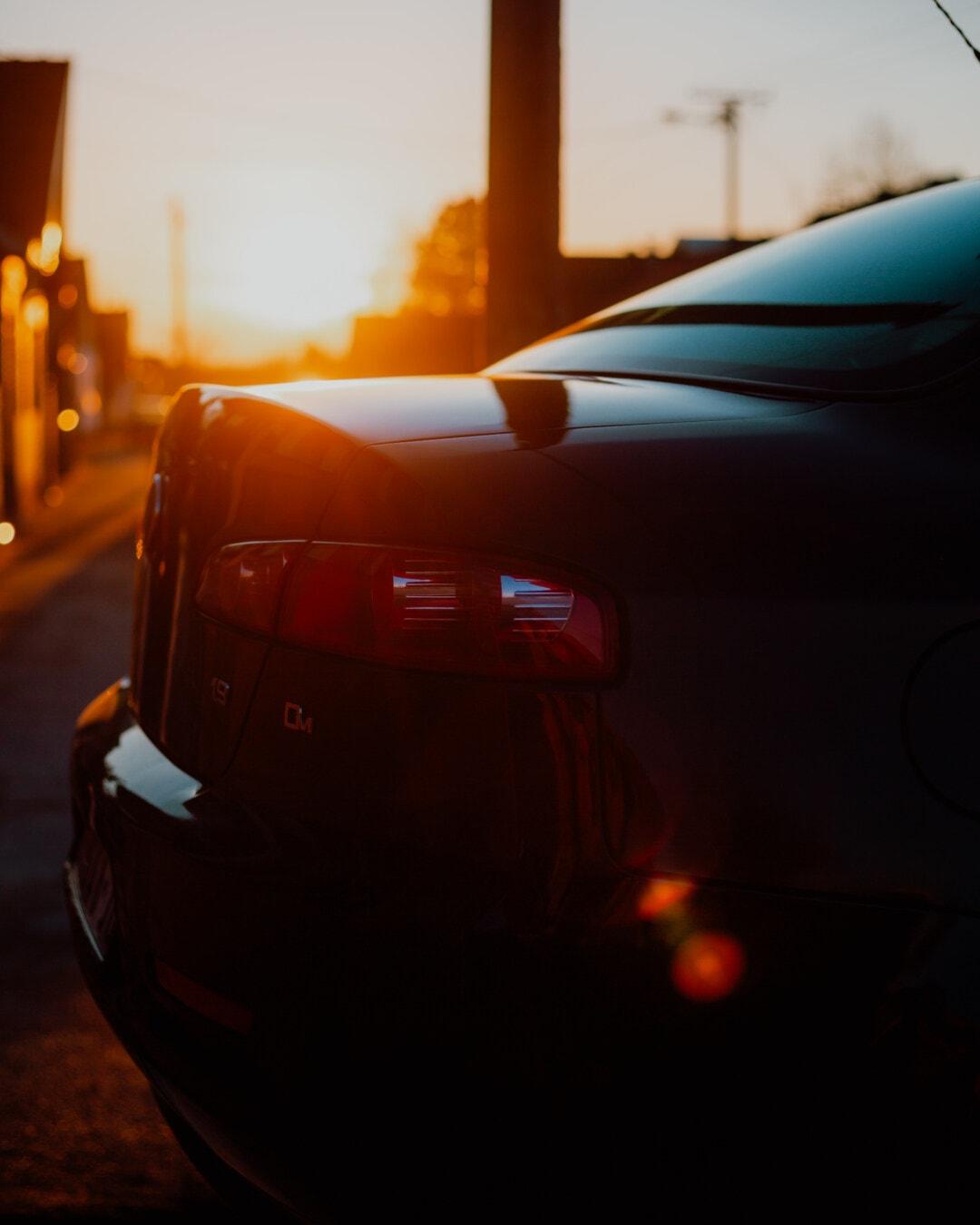 tampon, yakın, sedan araba, Güneş ışığı, arkadan aydınlatmalı, günbatımı, parlak, ulaşım, aygıt, araba
