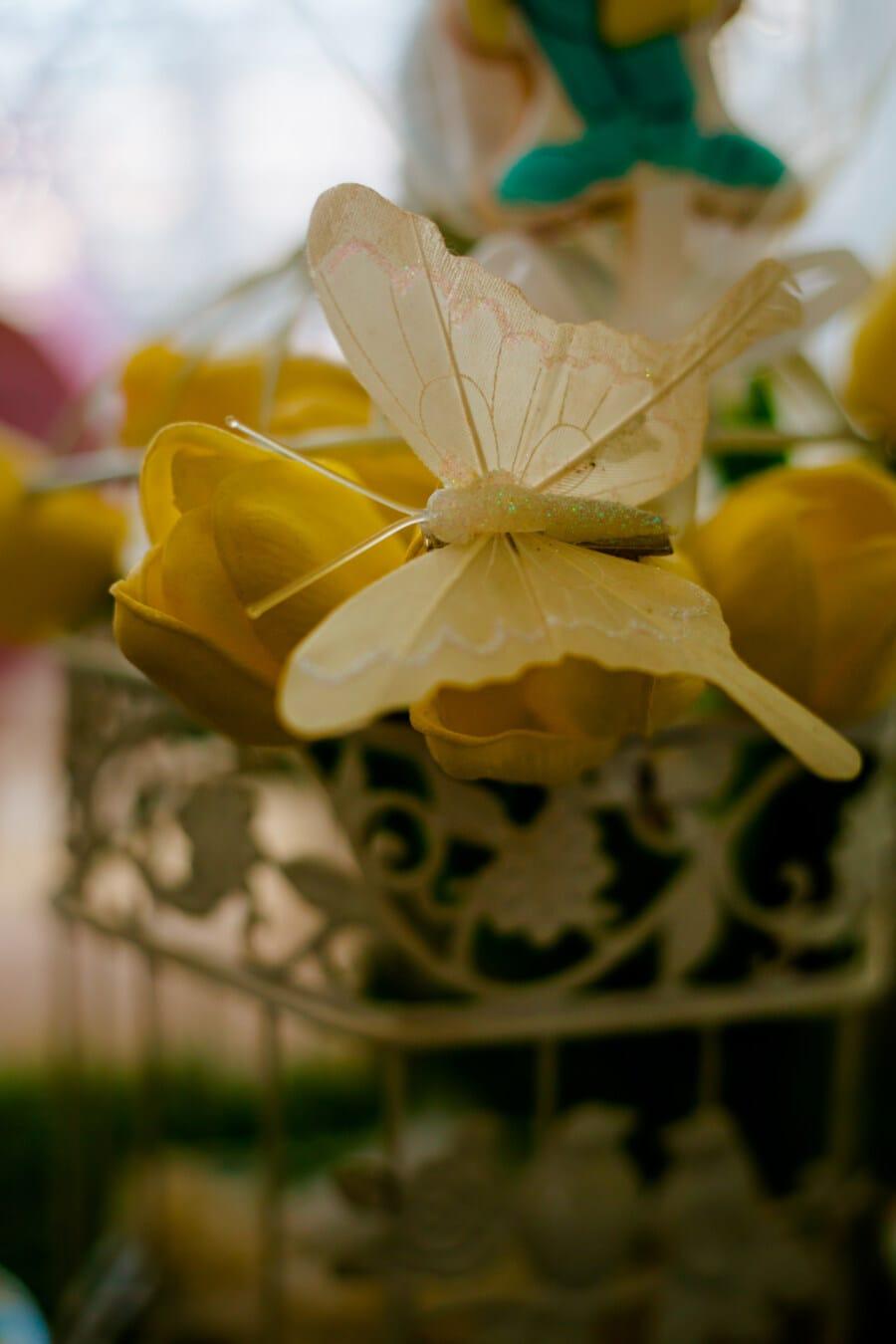 Papilionidae, jouet, plastique, décoration, fermer, nature morte, insecte, belle, couleur, Jaune