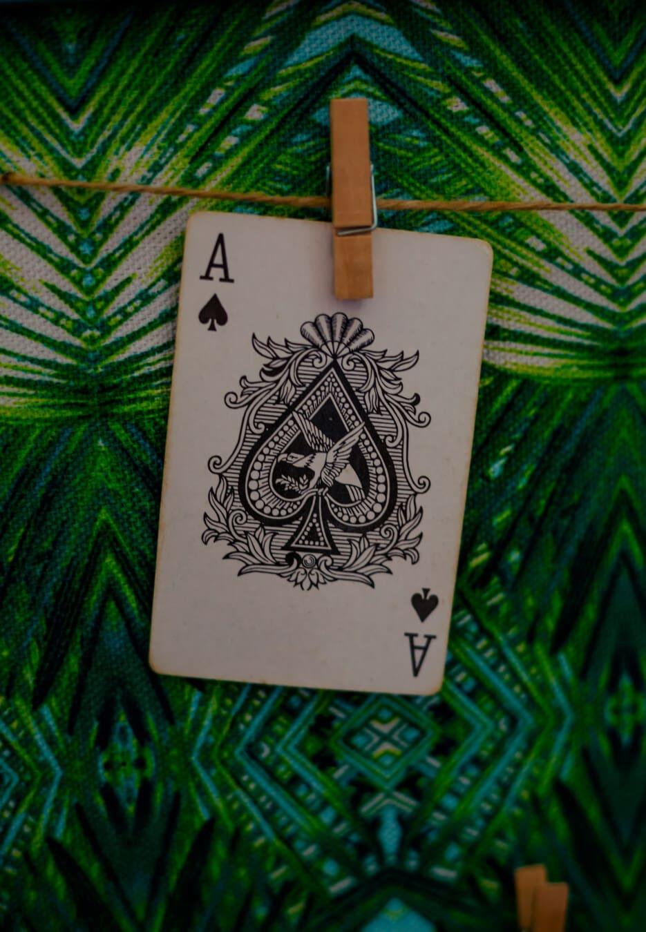 card, aces, hanging, game, casino, paper, black and white, decoration, interior design, art