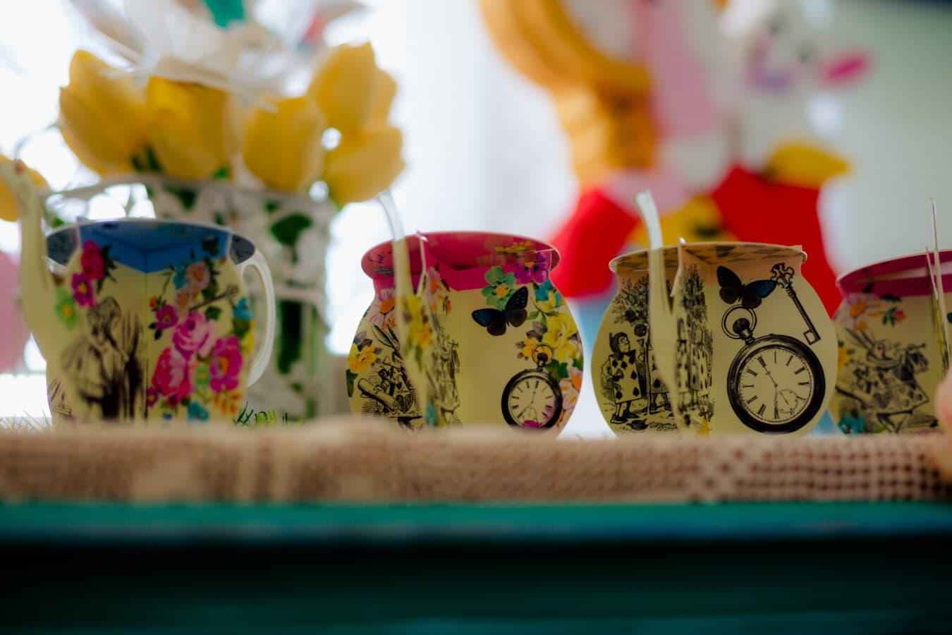 carton, teapot, object, handmade, craft, miniature, cup, still life, color, table