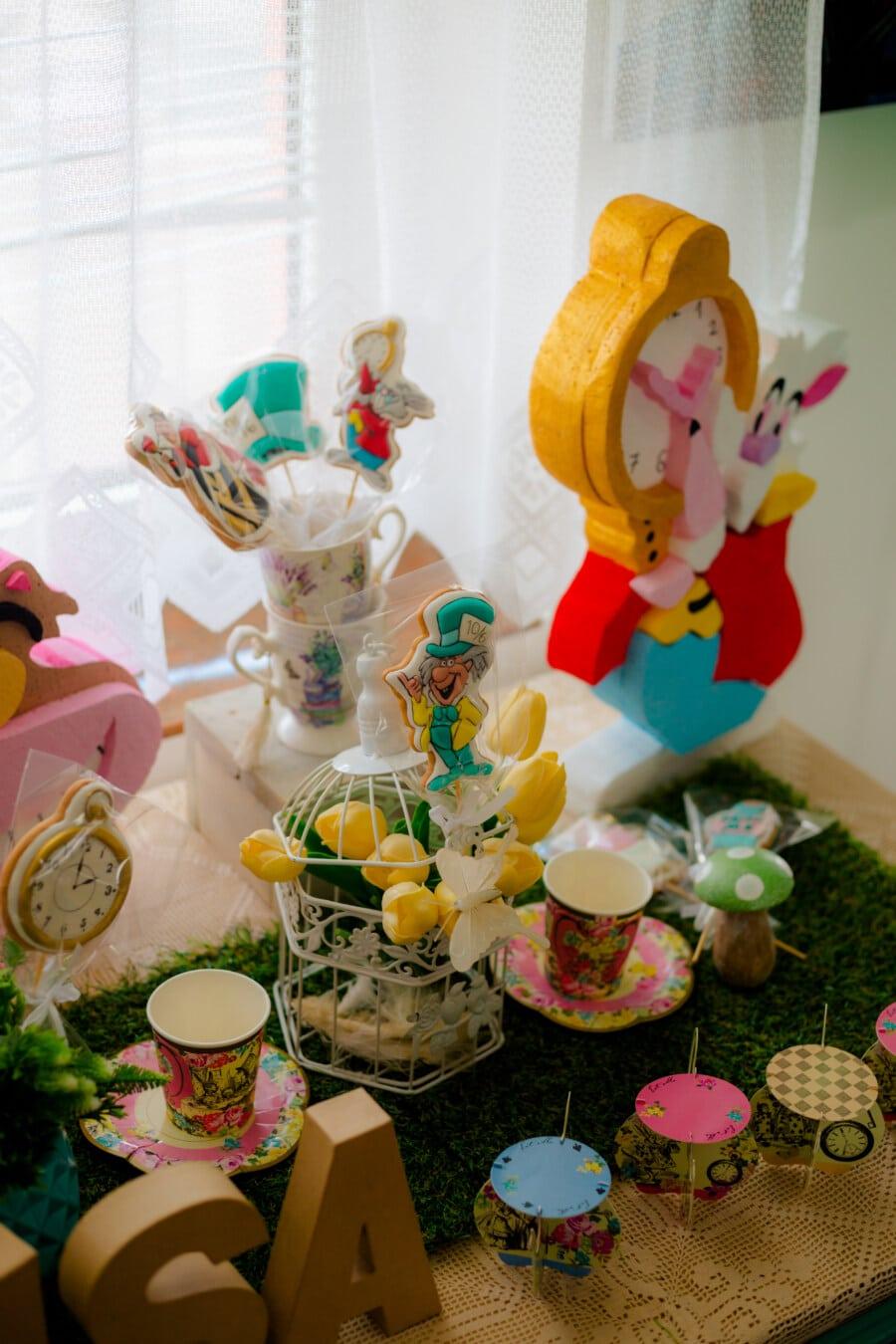 κόμμα, διακόσμηση, Πάσχα, νεκρή φύση, παιχνίδια, γλειφιτζούρι, καραμέλα, τουλίπες, κίτρινο, μπουκέτο