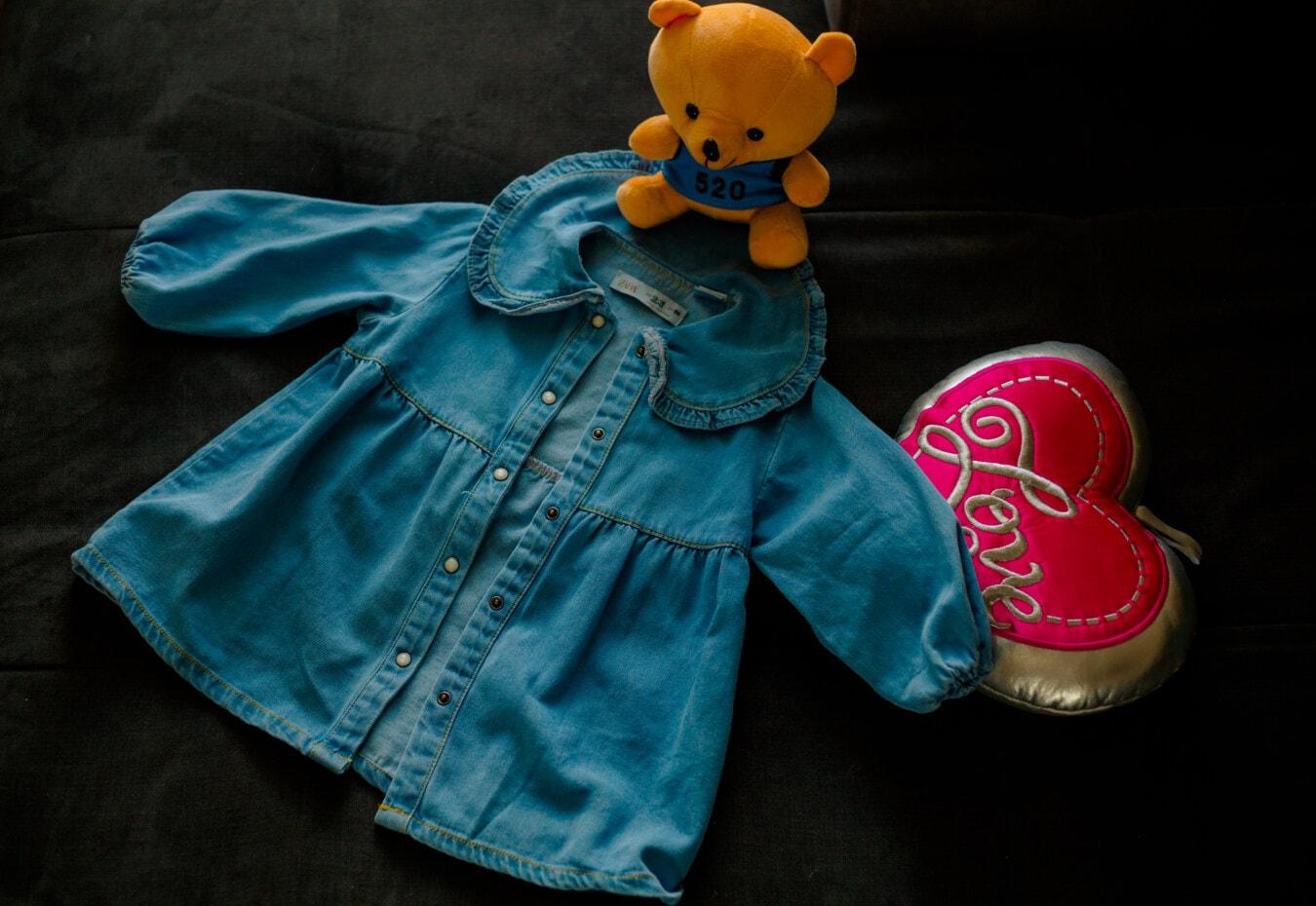 bamse leketøy, leker, hjerte, jakke, jeans, liten, barn, mote, farge, Baby
