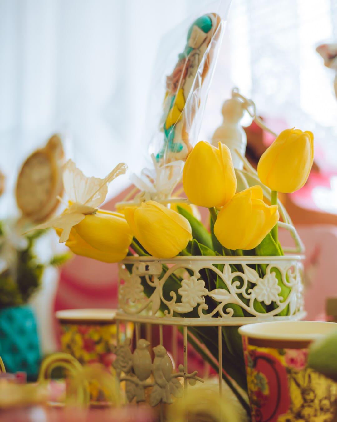 Dekoration, Ostern, Tulpen, gelb, Blumenstrauß, Blumen, Still-Leben, Tulpe, Blume, Natur