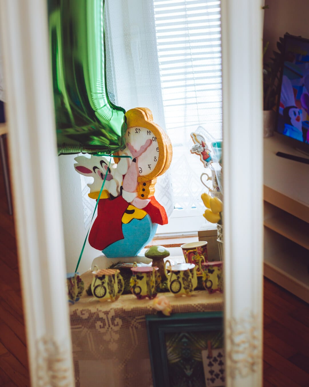 bunny, easter, toy, reflection, mirror, glass, furniture, indoors, window, people
