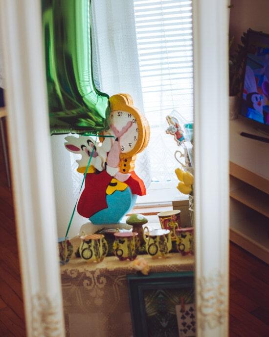 bunny, påske, legetøj, refleksion, spejl, glas, møbler, indendørs, vindue, folk